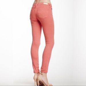 AG • Red Pink Polka Dot Stevie Ankle Jeans